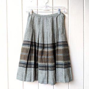 Vintage 1960s Wool Pleated Skirt Union Label
